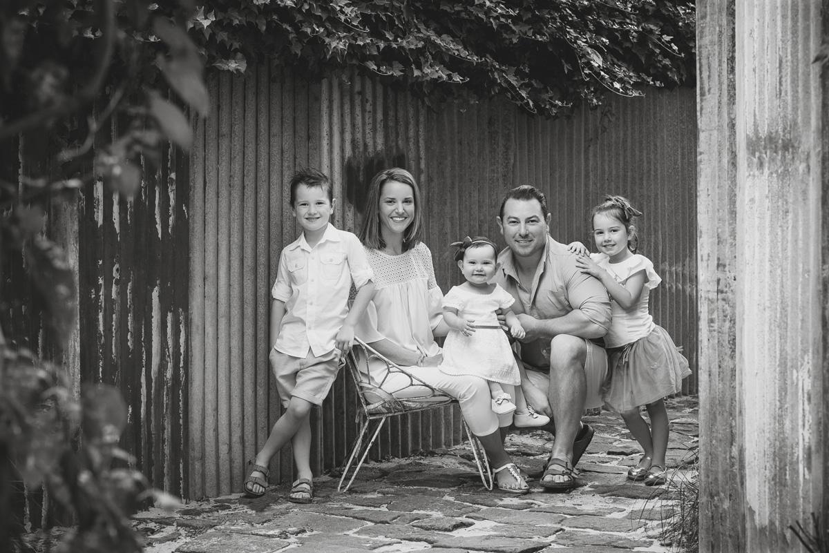 b/w family photo