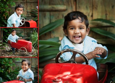 Little boy riding in his red car in this photo session by Lifeworks Photography