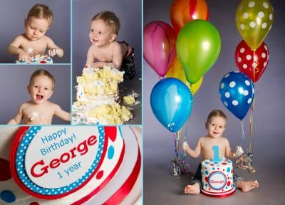 Professional photographs of George celebrating his 1 year birthday