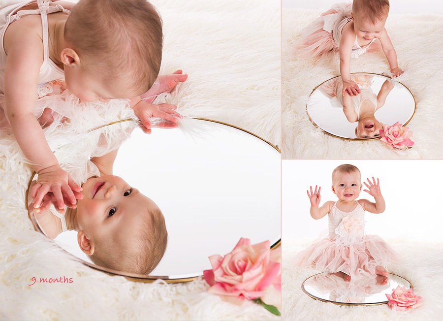9 months photos looking into mirror