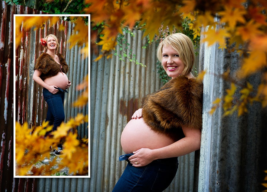 happy pregnant woman in outdoor studio at Lifeworks photography, Northcote in Autumn