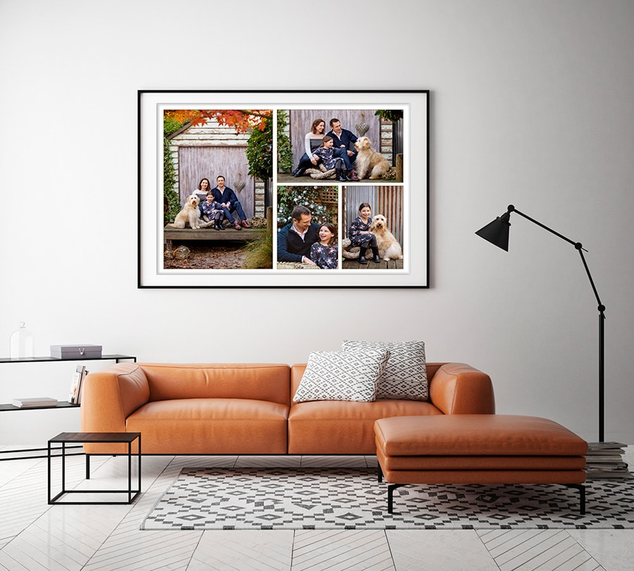 family collage in outdoor studio with rustic background for wall
