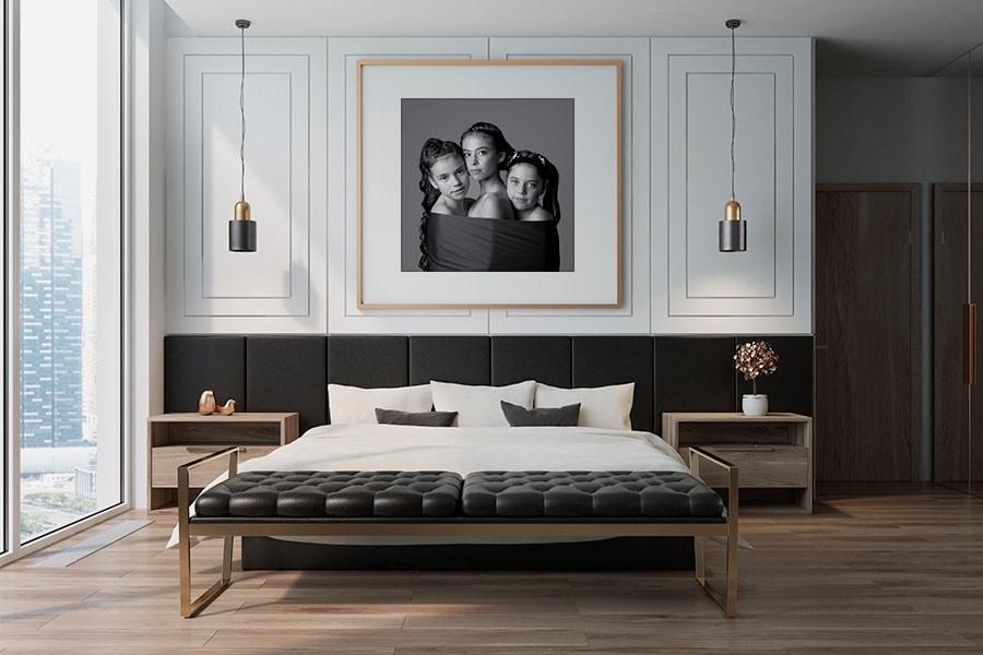 black and white art portrait of three girls