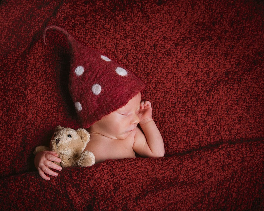 tiny newborn cuddling his teddy in cute red hat and red blankets