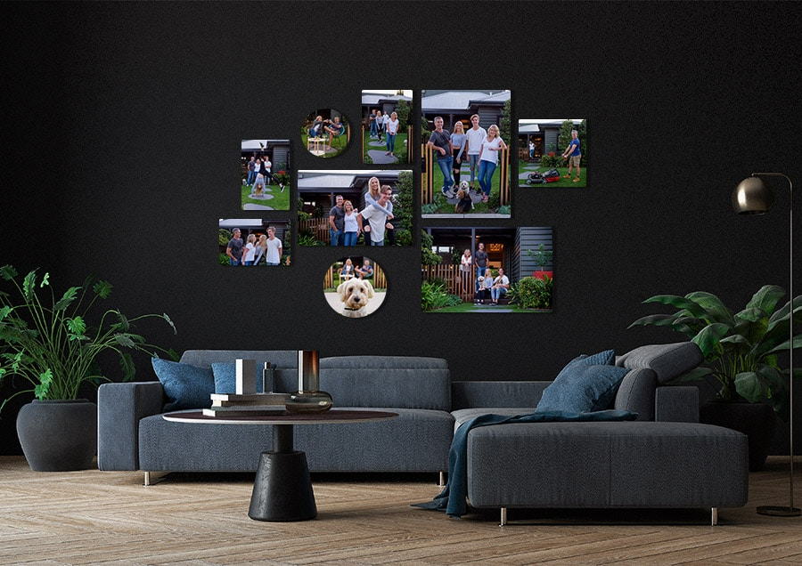 casual and fun family photo wall