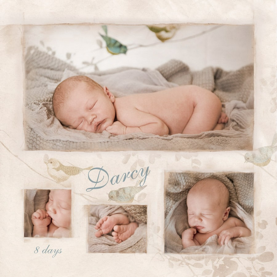newborn collage of 8 day old baby