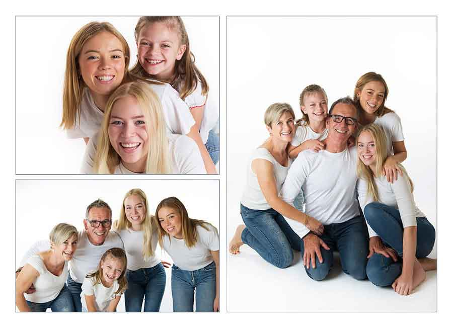 family portrait photography in the studio on white background