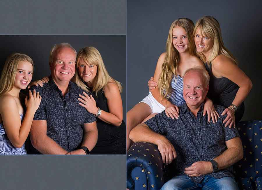 family portrait photography in studio with grey background